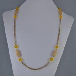 Golden Chain Beige Beads Necklace