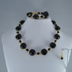 Black Acrylic Heart Beads Three Piece Set