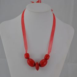 Red Wooden Beads Organza Ribbon Necklace