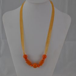 Yellow Wooden Beads Organza Ribbon Necklace