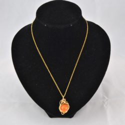 Gold Wire Wrapped Topaz Pendant Necklace