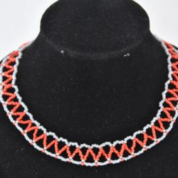 Gray Red Seed Bead Zig Zag Choker Necklace