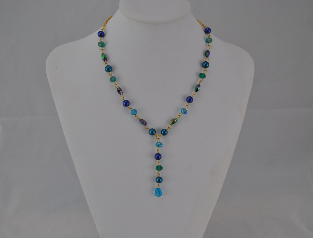 Gold Chain Mixed Blue Green Beads Linked Y Necklace