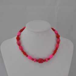 Pink Red Mixed Shapes Wooden Bead Necklace