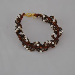 Chocolate Seed Beads Cream Pearls Twisted Bracelet
