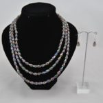 Smoke Acrylic Crystal Three Strand Necklace Ear Rings