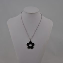 Black Enamel Daisy Pendant Necklace