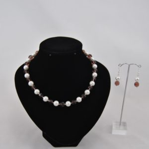 White Large Glass Pearls Amethyst Rondelle