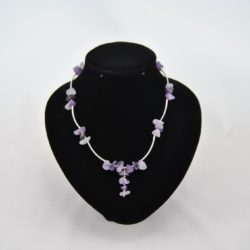 Silver Curved Tubes Amethyst Necklace