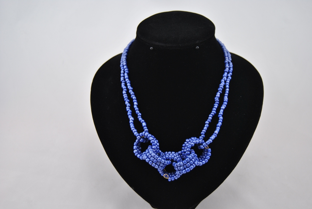 Blue Seed Bead Rings Necklace