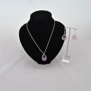 Silver Chain Pear Drop Lavender Dangles Rings Necklace Ear Rings