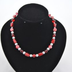 Mixed Shapes Red Beads Necklace