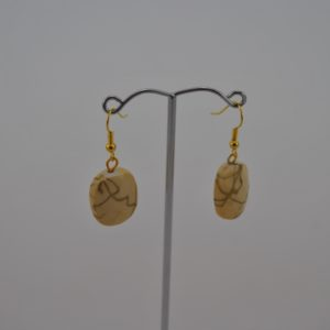 Beige Gold Oblong Bead Ear Rings