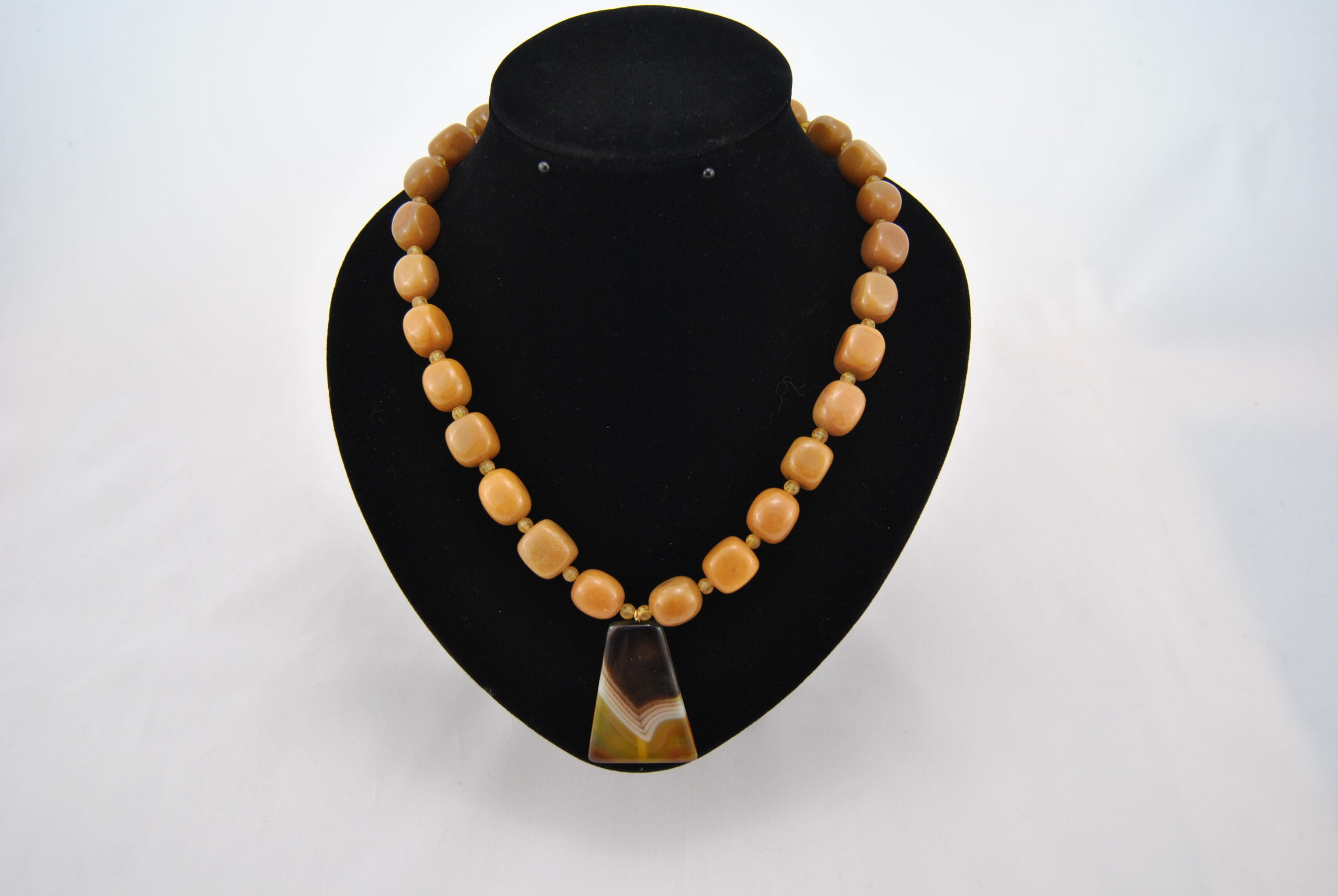 Toffee Cubes Agate Triangle Pendant Necklace