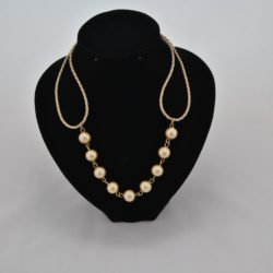 Golden Plaited Leather Golden Beads Necklace