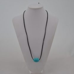 Black Suede Cord Blue Wooden Bead Necklace