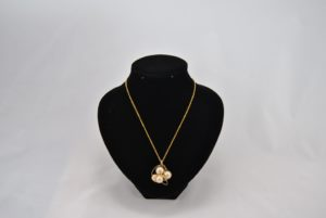 Gold Wire Wrapped Beige Pearls Pendant Necklace