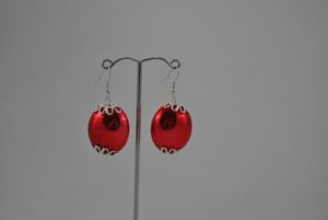 Large Red Bead Ear Rings