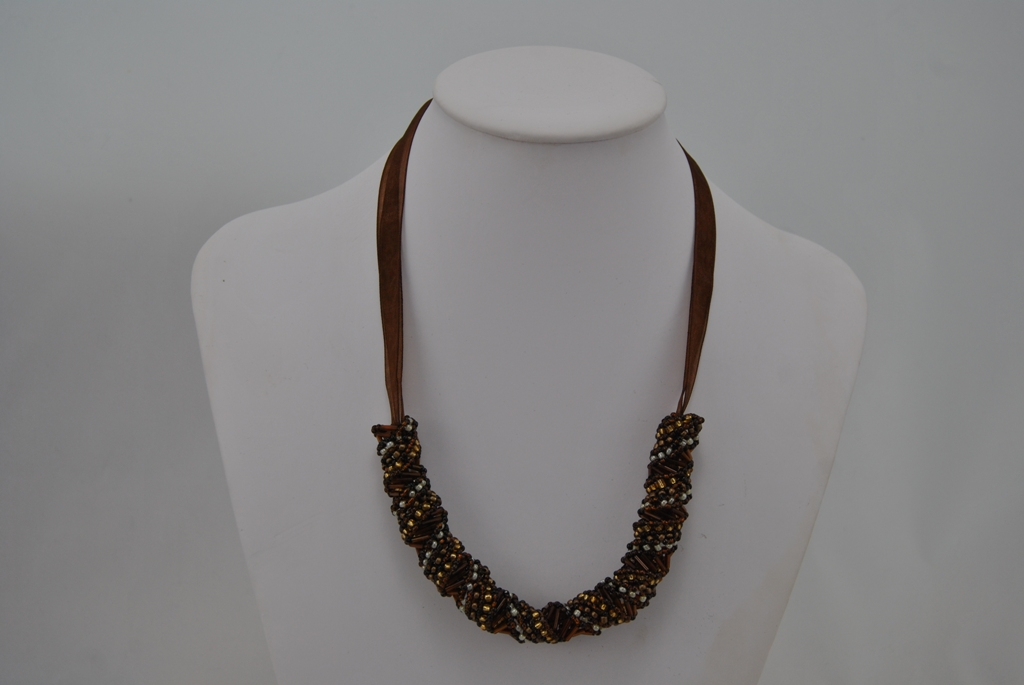 Chocolate Bronze Gold Russian Spiral Necklace