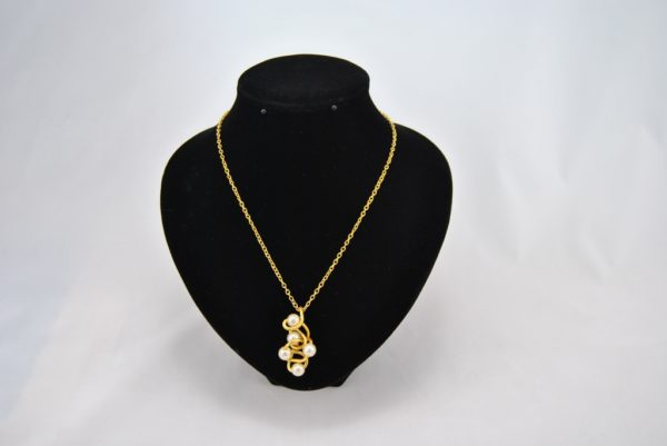 Gold Wire Wrapped Cream Pearls Pendant Necklace