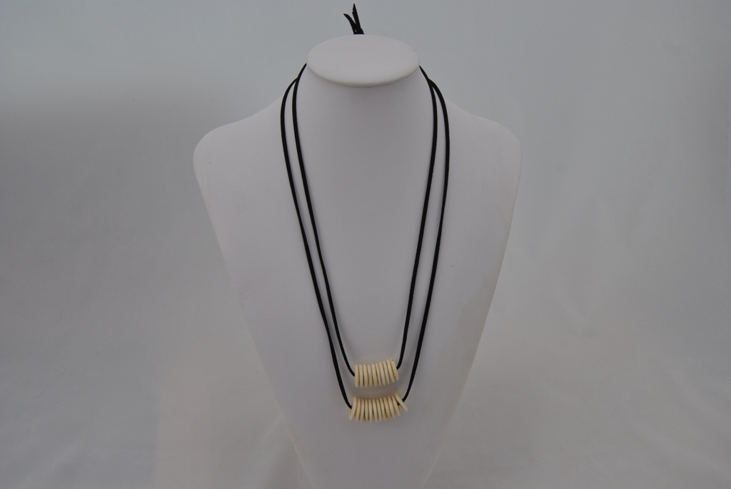 Two Necklace Set Black Suede Cord Cream Disks
