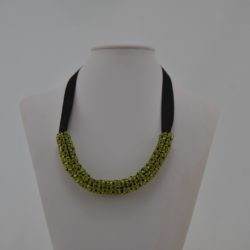 Lime Green Black Chenille Stitch Necklace