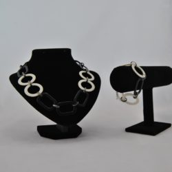 Black Acrylic Oblongs Cream Circles Necklace Bracelet Set