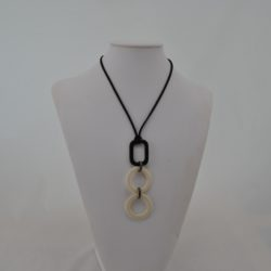 Black Suede Cord Cream Circles Black Oblong Necklace