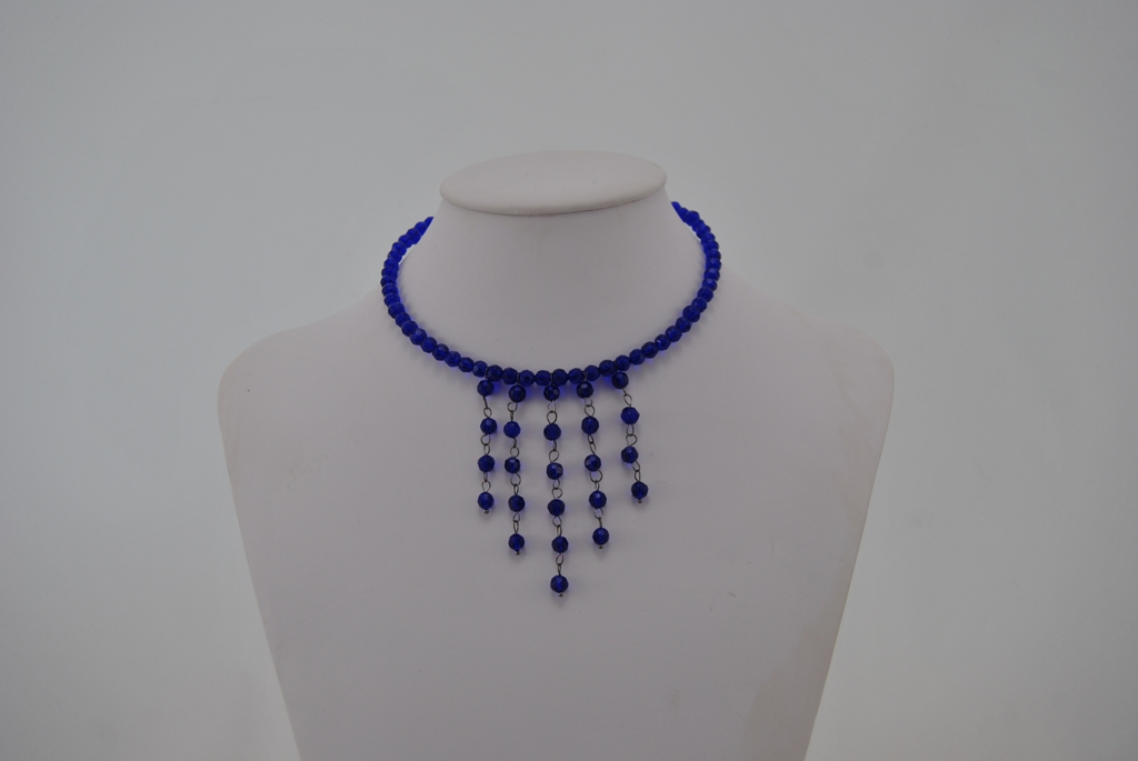 Memory Wire Blue Beads Dangles Choker Necklace