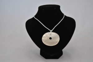Cream Silky Cord Cream Disk Pendant Necklace