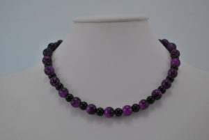 Black Glass Pearls Purple Mottled Draw Bench Bead Necklace
