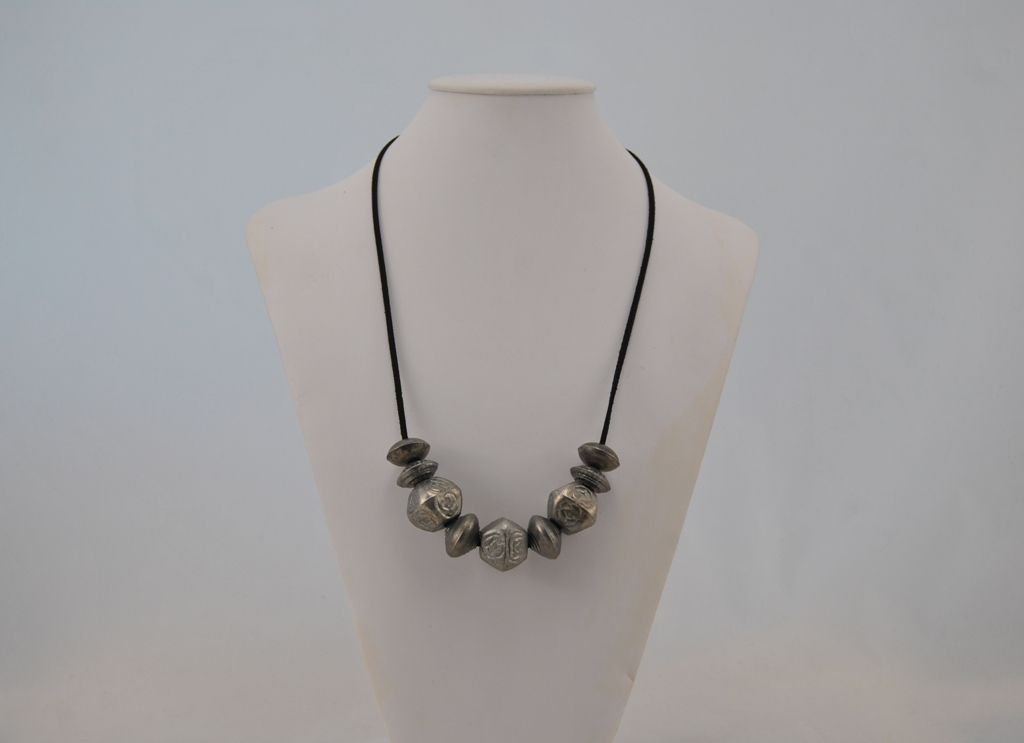 Black Suede Cord Mixed Antique Silver Beads Necklace
