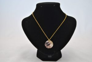 Mother of Pearl Disk Gold Chain Necklace