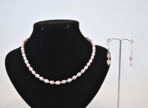 Lilac White Glass Rice Pearls Necklace Ear Rings