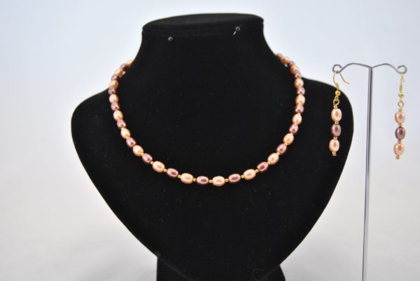 Peach Coffee Glass Rice Pearls Necklace Ear Rings