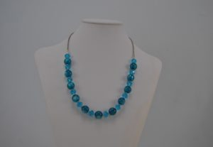 Silver Chain Blue Glass Beads Rondelle