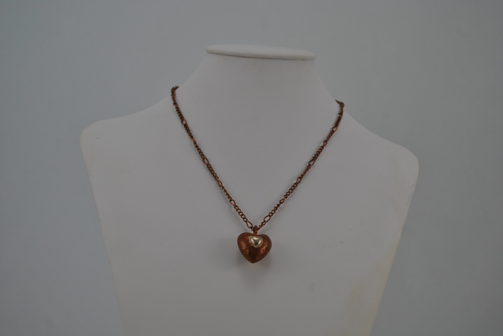 Copper Heart Pendant Copper Chain Necklace