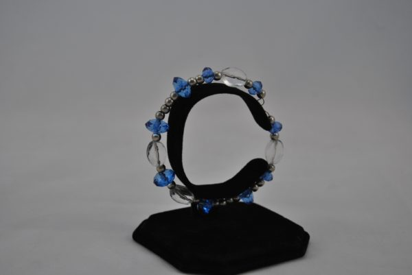Clear Beads Blue Rondelle