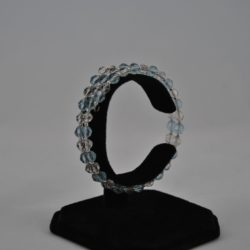 Blue Beads Clear Beads Memory Wire Bracelet