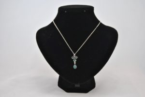 Silver Chain Jade Green Glass Beads Pendant Necklace