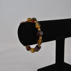 Mixed Amber Brown Beads Memory Wire Bracelet