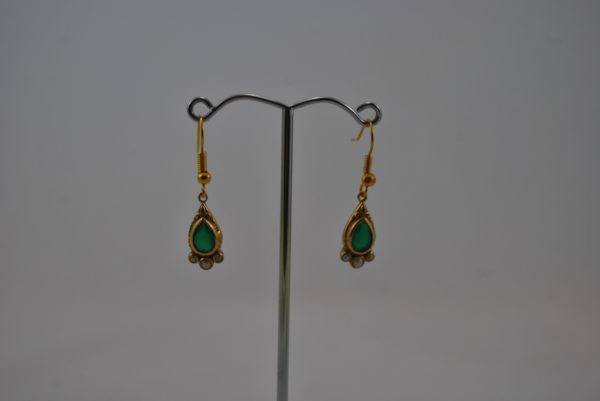 Green Gold Drop Ear Rings