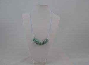 Blue Cord Mother of Pearl Disks Necklace