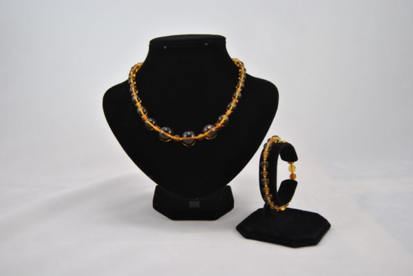 Amber Glass Beads Necklace Bracelet Set