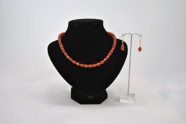 Red Agate Necklace Ear Rings