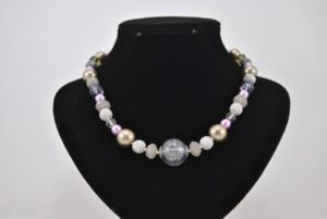 Mixed Gray Lilac Mixed Bead Necklace