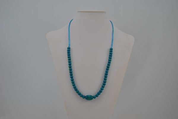 Blue Cord Wooden Beads Necklace