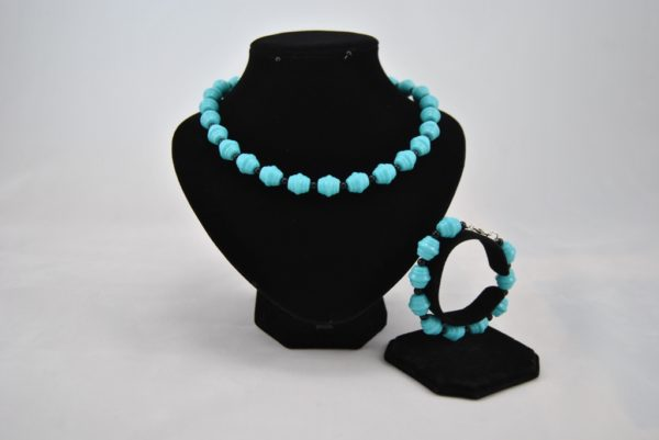 Turquoise Blue Acrylic Beads Necklace Bracelet Set