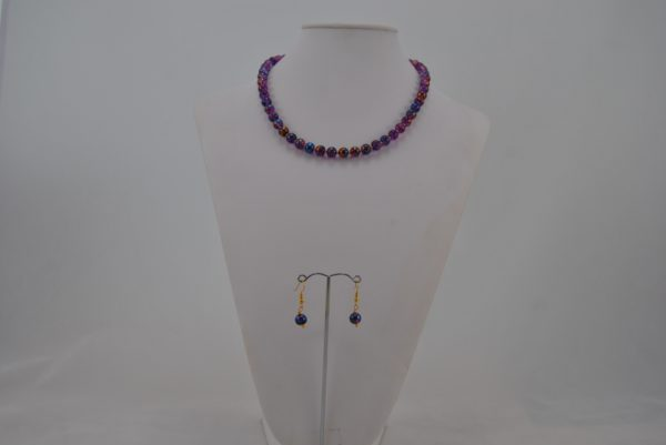 Purple Gold Draw Bench Beads Necklace Ear Rings Set