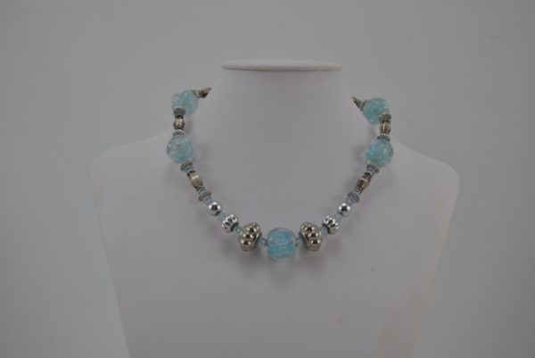 Mixed Large Blue Small Silver Beads Necklace